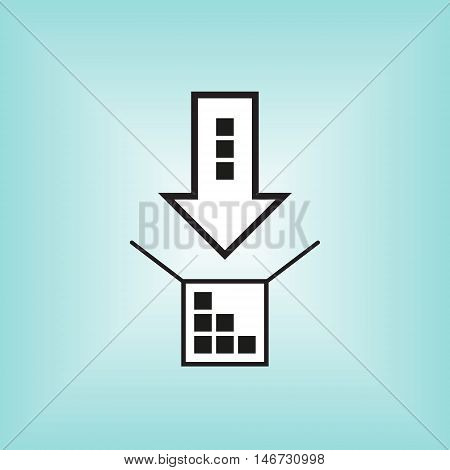 Arrow and box vector icon. Arrow and box vector logo.