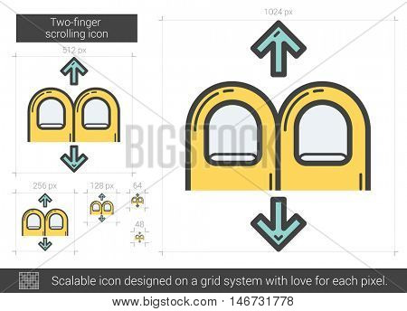 Two-finger scrolling vector line icon isolated on white background. Two-finger scrolling line icon for infographic, website or app. Scalable icon designed on a grid system.