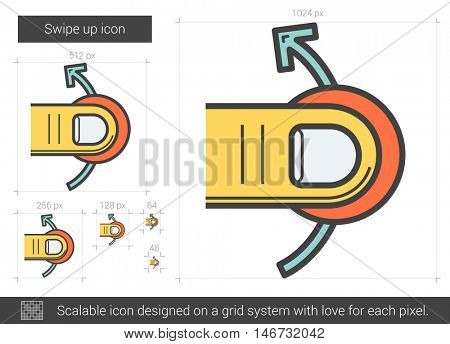 Swipe up vector line icon isolated on white background. Swipe up line icon for infographic, website or app. Scalable icon designed on a grid system.