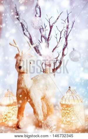 Magic Christmas Vintage Decorations With Deer