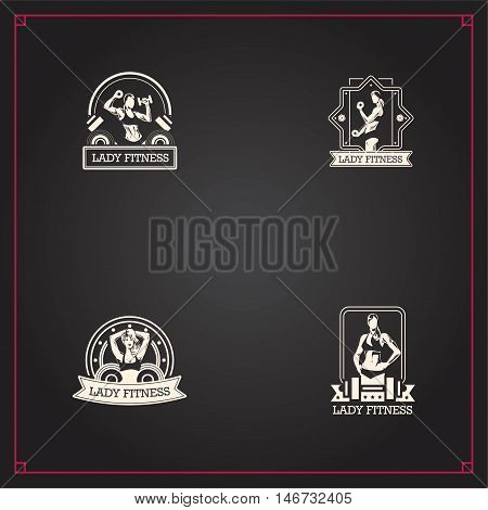 4 Badge retro style design with fitness woman in pink clothes. Good for logo design or print