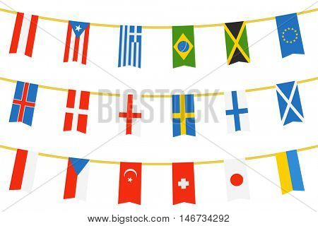 Different color flags of countries on rope isolated on white. Vector