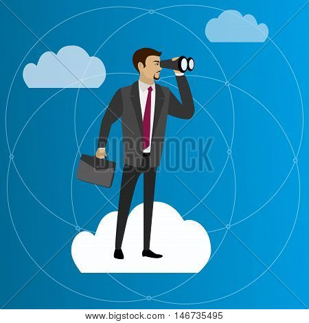 businessmen with binocular standing on a cloud vector illustration