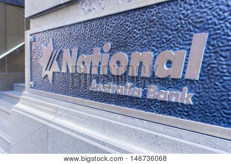 Sydney, Australia - June 26, 2016: Close-up of National Australia Bank signage. NAB is one of the four largest banks in Australia.