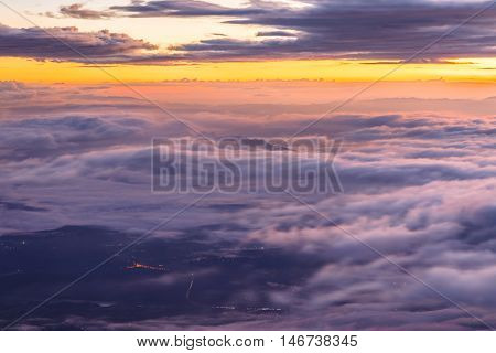 Layer of mountains and mist at sunset time Landscape at Doi Luang Chiang Dao High mountain in Chiang Mai Province Thailand