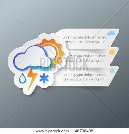 3d icon wheather infographic. Business Infographics origami style Vector illustration