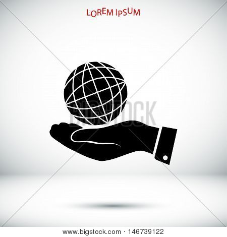 Globe Earth With Hand Icon