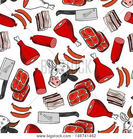 Fresh meat cuts and butcher shop seamless pattern with sausage, beef steak, ham, bacon, cow head and butcher knife. Butchery, stock farming design