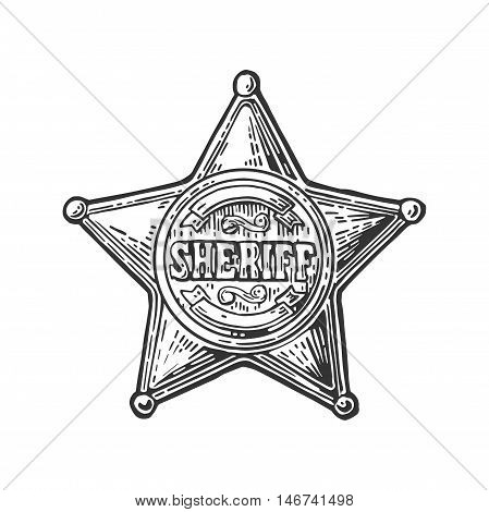 Sheriff star. Vintage black vector engraving illustration for western poster, web, police badge. Isolated on white background.