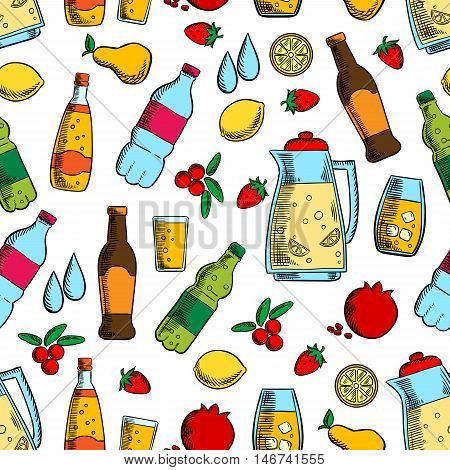 Non-alcoholic drinks with fruits seamless pattern of water, juice, soda and soft beverages, jug of fresh lemonade on white background with lemon, strawberry, pear, cranberry and pomegranate fruits