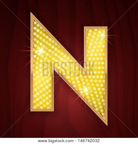 Gold light lamp bulb letter N. Casino concept design of letter from sparkling glittering alphabet set