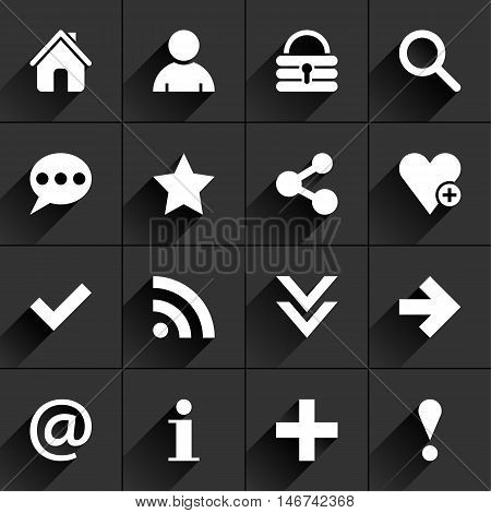 16 basic sign flat icon with gray long shadow. White sign on dark gray background. Tidy clean simple minimal solid plain style. Vector illustration web internet design element save in 8 eps
