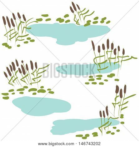 Vector icon set with green reeds stones and blue pond. Collection of marshland rural landscapes.