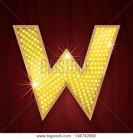 Gold light lamp bulb letter W. Sparkling lightning glitter shine alphabet for light board. Cabaret style design. Glowing shining golden alphabet letter