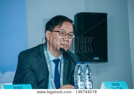 SHANGHAI CHINA - AUGUST 31 2016: Huawei Carrier BG president Zou Zhilei at press-conference at Connect 2016 information technology conference and exhibition in Shanghai China on August 31 2016.