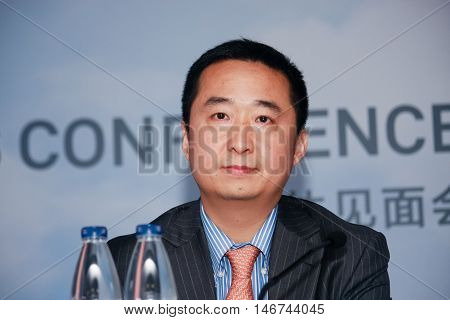 SHANGHAI CHINA - SEPTEMBER 1 2016: Huawei Enterprise Network Product Line president Liu Shaowei at press-conference at Connect 2016 technology conference in Shanghai China on September 1 2016.