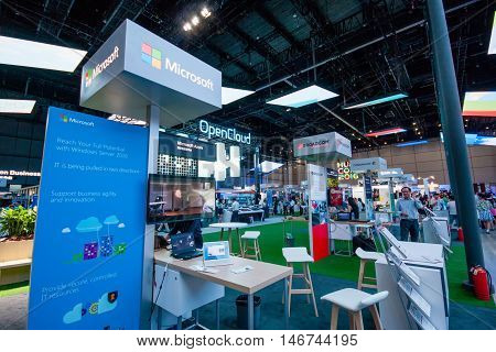 SHANGHAI CHINA -SEPTEMBER 2 2016: Booth of Microsoft company at Connect 2016 information technology conference and exhibition in Shanghai China on September 2 2016.