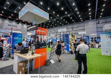 SHANGHAI CHINA - SEPTEMBER 2 2016: Booth of Micron company at Connect 2016 information technology conference and exhibition in Shanghai China on September 2 2016.
