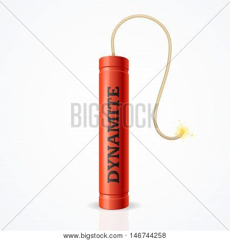 Detonate Dynamite Bomb. Risk Of Strong Explosion. Vector illustration