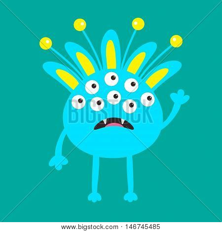 Blue monster with ears fang tooth and horns. Funny Cute cartoon character. Baby collection. Happy Halloween card. Flat design. Green background. Vector illustration
