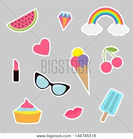 Quirky cartoon sticker patch set. Summer time badges. Fashion pin collection. Lipstick heart rainbow cloud cupcake diamond ice cream watermelon lips cherry sunglasses Isolated Flat Vector
