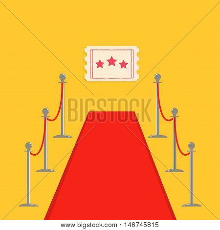 Red carpet and rope barrier golden stanchions turnstile Movie premiere ticket with stars. Isolated template Yellow background. Flat design Vector illustration