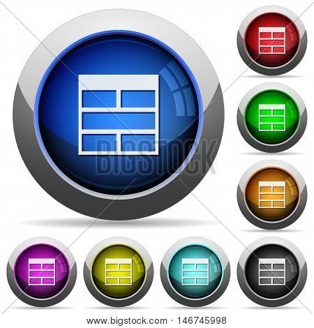 Set of round glossy Spreadsheet horizontally merge table cells buttons. Arranged layer structure.