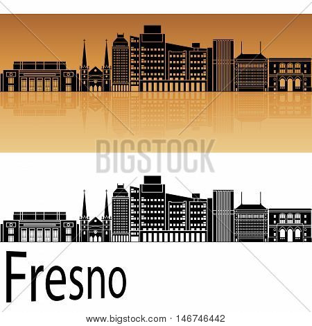 Fresno skyline in orange background in editable vector file