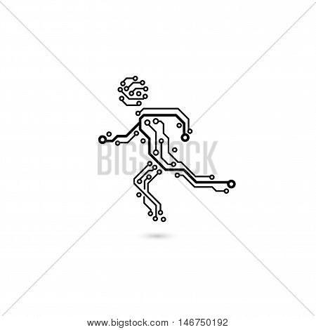 Vector circuit board running sport man. The concept of information technology logo