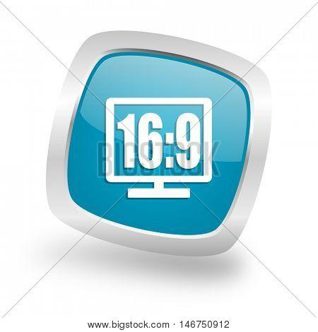16 9 display square glossy chrome silver metallic web icon