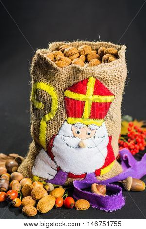 St. Nicolas' bag filled with traditional Dutch spicy cookies, Saint Nicolas celebration.