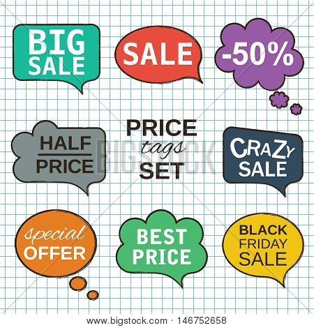 Interactive multicolored labels. Sale promotion speech bubbles collection set with price tags isolated on white squared paper sheet pattern background.. Vector illustration.