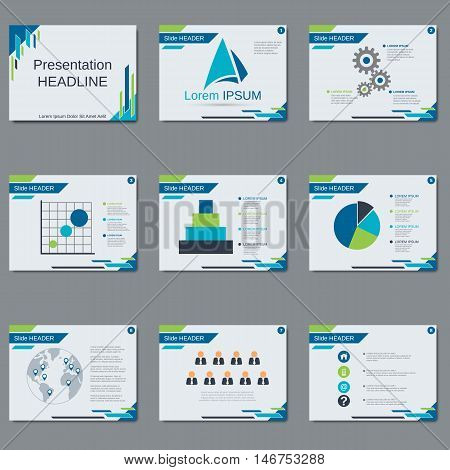 Presentation, slide show vector template. White background with blue and green abstract geometric shapes