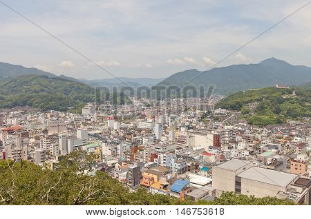 UWAJIMA JAPAN - JULY 22 2016: View of Uwajima town from main keep of Uwajima castle Shikoku Island Japan. Uwajima has developed as center city in southwest of Ehime since early 17th c