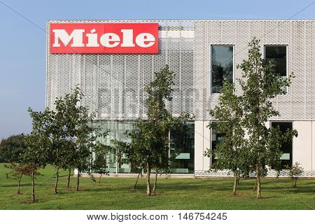 Vejle, Denmark - September10, 2016: Miele offices in Denmark. Miele is a German based manufacturer of high-end domestic appliances, commercial equipment and fitted kitchens, based in Germany