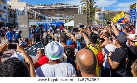 JAVEA - SEPTEMBER 9: Unidentified colombian people encourage Nairo quintana in the start for the decisive time trial stage of La Vuelta on September 9, 2016 in Alicante, Spain