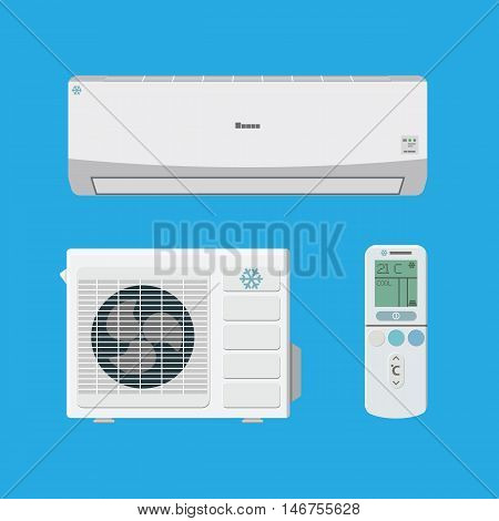 Air conditioner system. external and internal unit and remote control. vector illustration in flat style on blue background