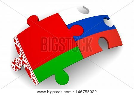 Cooperation between Russia and Belarus. Puzzles with flags of the Russian Federation and Belarus on a white surface. The concept of coincidence of interests in geopolitics. Isolated. 3D Illustration