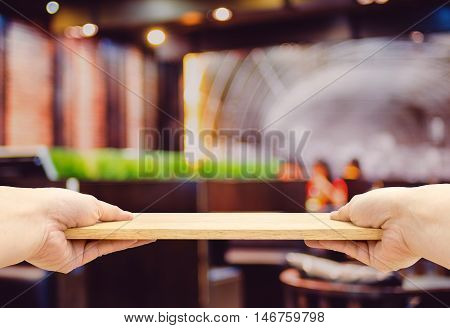 Two Hand Holding Food Plate Made From Wood Isolated On White Background, Template Mock Up For Adding