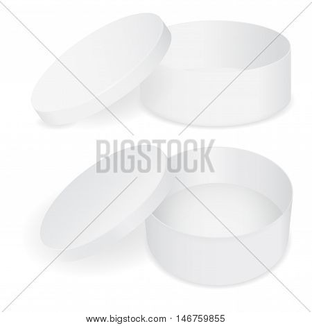 Round box. Paper hat box with open lid. Vector illustration isolated on white background