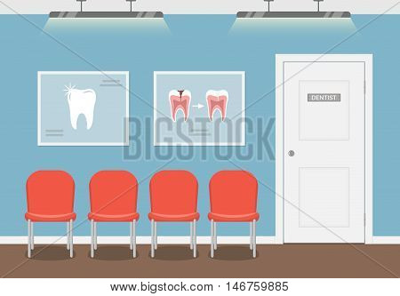 Waiting room for patients in the dental office. Interior building dentistry. Vector illustration in flat style.