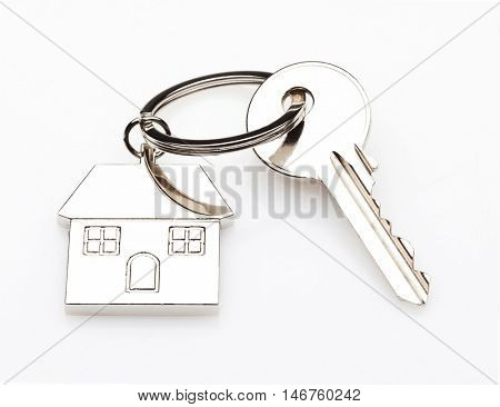 house key ring and white background