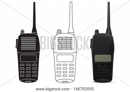 Radio transceiver. Talkie icon. Vector illustration isolated on white background
