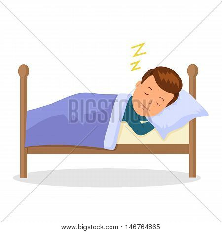 Child is sleeping sweet dream. Cartoon baby sleeping in a bed. Isolated illustration in flat style. Raster copy