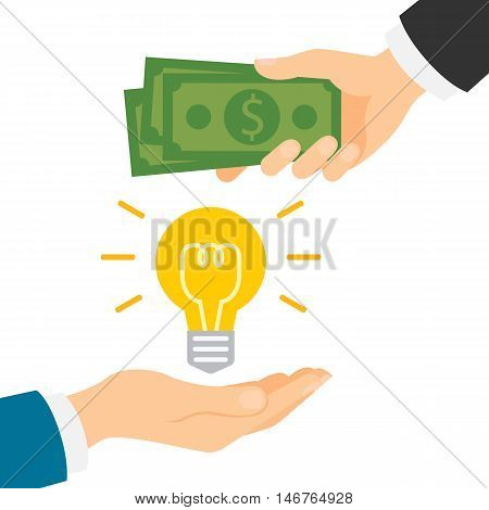 Money for idea concept. Hand giving idea light bulb and another hand giving green dollars. Concept of deal, selling and investment.
