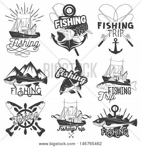 Vector set of monochrome fishing trip emblems. Isolated badges, labels, logos and banners in vintage style with ship, anchor, spinning rod, wheel and fish