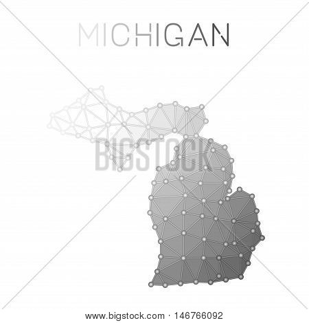 Michigan Polygonal Vector Map. Molecular Structure Us State Map Design. Network Connections Polygona