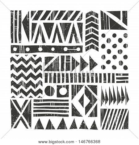 Vector tribal background. Abstract pattern with primitive shapes. Hand drawn illustration. EPS 10. Contains no transparency and blending modes.
