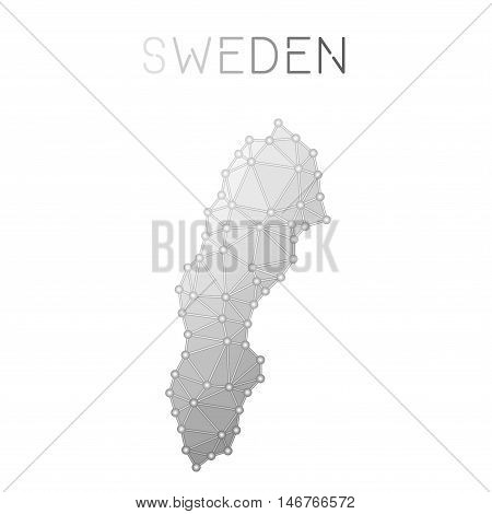 Sweden Polygonal Vector Map. Molecular Structure Country Map Design. Network Connections Polygonal S