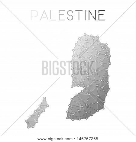 Palestine Polygonal Vector Map. Molecular Structure Country Map Design. Network Connections Polygona